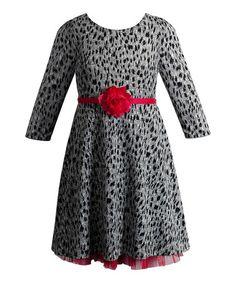 Gray & Pink Speckled Rosette A-Line Dress - Girls #zulily #zulilyfinds