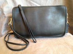 COACH BASIC BAG BLACK LEATHER SHOULDER BAG PRE SERIAL #9455 RARE NYC #Coach #MessengerCrossBody