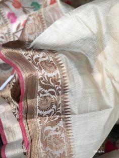 Cotton Silk - Off White Meenakari Kora Silk Sarees, Pure Georgette Sarees, Handloom Saree, Party Wear Sarees Online, Silk Sarees Online Shopping, Party Sarees, Katan Saree, Textile Pattern Design, Modern Saree