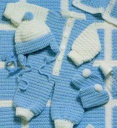 Baby Coveralls Layette Set Crochet Pattern Instructions #Vanna