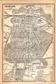 1897 Haarlem Netherlands Antique Map Vintage by Craftissimo