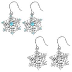 Adorned with cubic zirconia, this rhodium-plated pair of snowflake earrings is the perfect gift this holiday season. Crafted of sterling silver, these earrings secure with hooks.