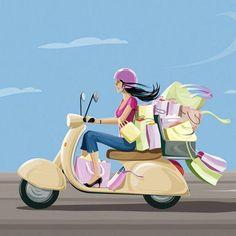 New Vintage Bike Illustration Vespa Scooters Ideas Vespa Roller, Shopping Pictures, Desenho Pop Art, Bike Illustration, Vespa Girl, Fashion Wall Art, Animation, Transportation, Sketches
