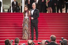 "Robbie Williams and Ayda Field wearing respectively a Valentino tuxedo and a Valentino gown from the Fall/Winter 2015-16 collection at ""The Sea of Trees"" Premiere, during the 68th annual Cannes Film Festival, on Saturday May 16th, 2015."
