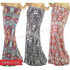 Women Gray Coral Mint Baroque Ombre Print Fold Over Long Rayon Maxi Skirt USA