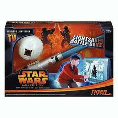 """Star Wars Light Saber Battle Game by Hasbro. $108.84. Join your favorite characters from Star Wars, including Obi-Wan Kenobi, Yoda, Qui-Gon Jinn, Anakin Skywalker, and Mace Windu. Innovative wireless technology lets your lightsaber interact with your TV screen. Interactive plug and play adventure. Requires 4 """"AA"""" or LR6 Alkaline batteries (not included).. Plug the training droid into your TV or VCR, and you're ready to begin. Amazon.com                While Luke ..."""
