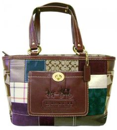 Coach Patchwork Design With Brown Leather