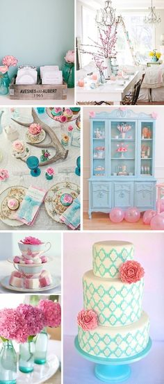 pale pink and blue wedding