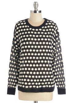 In Favor of Flavor Sweater - Short, Sheer, Knit, Black, White, Polka Dots, Casual, Long Sleeve