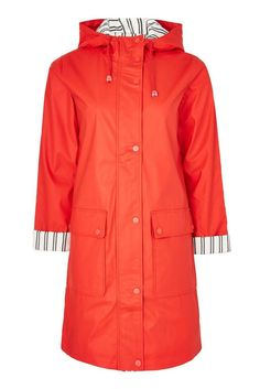 Hooded rain mac in a longer length with contrast navy and white stripe lining and pockets. Red Rain Jacket, Rain Mac, Hooded Raincoat, Long A Line, Navy And White, Windbreaker, Topshop, Stuff To Buy, Outfits