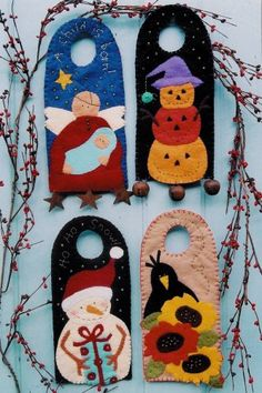 Doorknob hangers could also be an. Christmas Sewing, Felt Christmas, Handmade Christmas, Christmas Ornaments, Halloween Crafts, Holiday Crafts, Felt Ornaments, Beaded Ornaments, Glass Ornaments