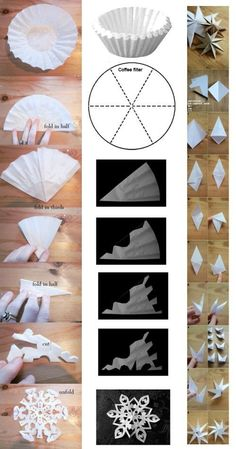 Cut out stars yourself. Make tutorial template - Cut out stars yourself. Make tutorial template - Christmas Snowflakes, Christmas Crafts For Kids, Christmas Decorations To Make, Christmas Art, Christmas Projects, Simple Christmas, Holiday Crafts, Christmas Ornaments, Paper Snowflakes