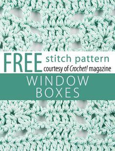 Free Window Boxes Stitch Pattern from Crochet! magazine. Download here: http://www.crochetmagazine.com/stitch_patterns.php?pattern_id=84