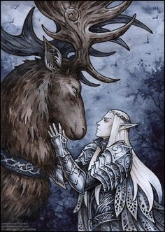 Thranduil and his elk by Candra Lotr Elves, Mirkwood Elves, Legolas And Thranduil, O Hobbit, Wood Elf, Jrr Tolkien, Fanart, Middle Earth, Lord Of The Rings
