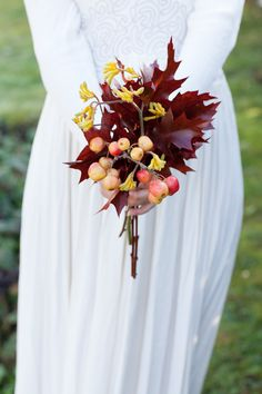 Autumn Berries and Leaves Bouquet