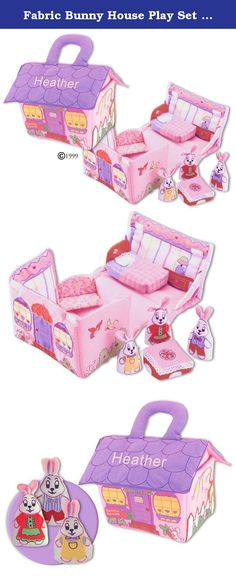"""Fabric Bunny House Play Set For Children By Pockets Of Learning-Personalized. Soft fabric Bunny House opens to reveal a charming play set complete with Mama Bunny, Papa Bunny, Baby Bunny, a couch, a bed and a table. All the pieces store neatly in the zippered cottage """"carry-along""""."""