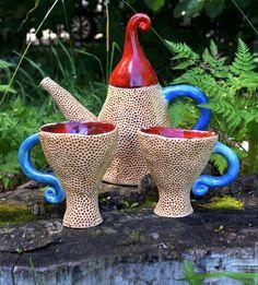 Ceramic set | Купить Чайник и чашки Чаепитие у гномов - ярко-красный, гном, гномы, чашка, чайник, посуда