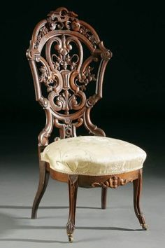 c1850 Roccoco etagere or occasional chair, laminated rosewood, J&JW Meeks, NYC, Henry Ford pattern, 42t, 8-1,7.