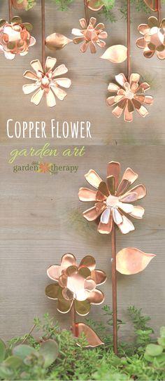 Copper Flower Garden Art | Garden Therapy - Featured on #HomeMattersParty 99