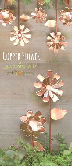 Copper Flower Garden Art | Garden Therapy - Featured on #HomeMattersParty 99