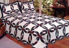 Royal Wedding Ring 3 Pc King Size Quilt Bedspread Set-  Vintage Antique Bedding  #VintageAntique