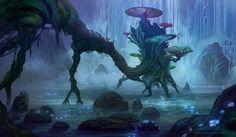 イラスト 1450x846 with niltrace wide image glowing no people fantasy lake 花 plant (plants) 木 水 forest stone (stones)
