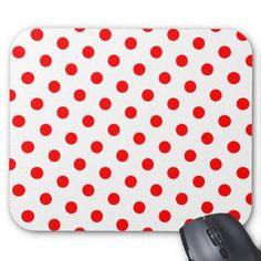 White and Red Polka Dots Mouse Pads