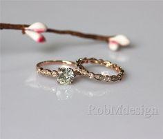Art Deco Moissanite Ring Set 6.5mm VS Moissanite von RobMdesign