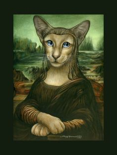 Spoof Siamese Cat Print Mona Kitty original by I Garmashova | eBay