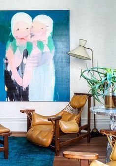 Melbourne home of Lisa Gorman and Dean Angelucci. Painting by Rhys Lee. Via the Design Files. Home Interior, Interior And Exterior, Interior Decorating, Interior Design, Interior Inspiration, Design Inspiration, Furniture Inspiration, Italian Furniture Design, Unusual Furniture