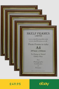 3cbccc7625e 5 Pack of A4 DARK WOOD with GOLD INLAY PICTURE PHOTO CERTIFICATE FRAMES
