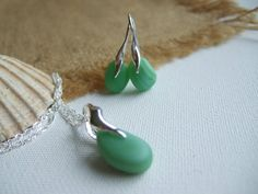 Pastel Green Seaham sea glass necklace earrings by TiliabytheSea
