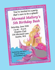 Barbie Mermaid Tale Birthday Party Printable by ThatPartyChick, $14.00
