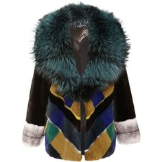 J. Mendel Plaid Mink Jacket With Silver Fox Collar ($24,000) ❤ liked on Polyvore featuring outerwear, jackets, coats, fur, teal multi, tartan jacket, patchwork jacket, colorful jackets, fox jackets and plaid jacket
