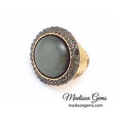 Grey Stone Round Stretch Ring.  www.madisongems.com