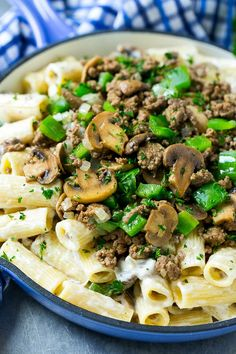 A skillet of philly cheesesteak pasta with creamy rigatoni, ground beef, sauteed mushrooms and green peppers. Salad Recipes For Dinner, Entree Recipes, Beef Recipes, Healthy Recipes, Skillet Recipes, Steak Pasta, Seafood Boil Recipes, Easy Pasta Recipes, Rigatoni