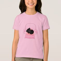 Girly tshirt with Black cat Shirt Style, Shirt Designs, Girly, T Shirts For Women, Cat, Creative, Collection, Black, Color