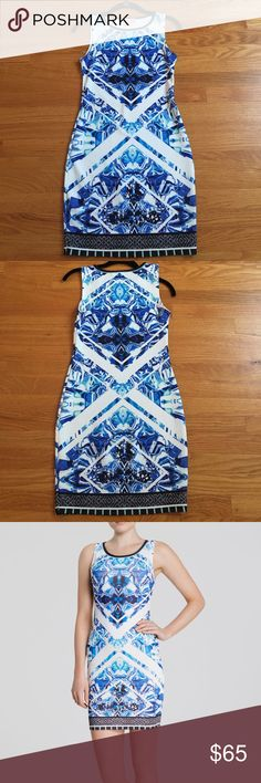 Blue abstract bodycon dress Worn once. Excellent condition. Size small. Peach Puff brand from Bloomingdales Dresses