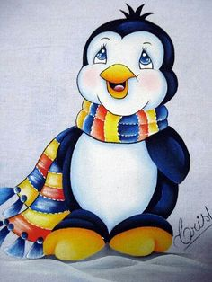 Pinguim Tole Painting, Fabric Painting, Painting On Wood, Christmas Snowman, Christmas Crafts, Penguin Coloring Pages, Penguin Art, Penguin Clipart, Crochet Towel