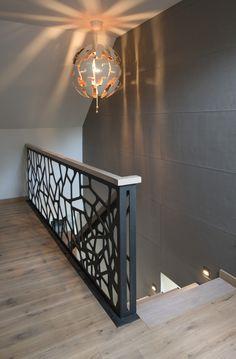 Balcony Grill Design, Balcony Railing Design, Home Stairs Design, Home Room Design, Dream Home Design, Door Design, Home Interior Design, Interior Decorating, Modern Stair Railing