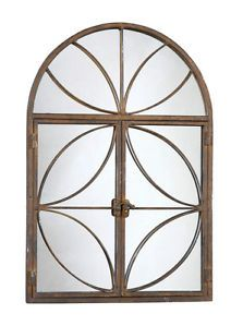 TUSCAN STYLE Double Locking Door ACCENT WALL MIRROR Windowpane Rustic Brown