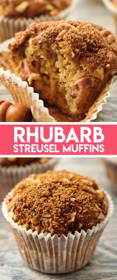 Rhubarb Streusel Muffins are made with a delicious buttermilk batter and topped with a brown sugar and walnut streusel for a moist recipe perfect for any breakfast or spring brunch! #Rhubarb #Muffin Homemade Desserts, Best Dessert Recipes, Cupcake Recipes, Easy Desserts, Sweet Recipes, Breakfast Recipes, Brunch Recipes, Breakfast Ideas, Summer Recipes
