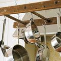 Pot rack from an old ladder
