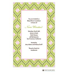 Modern patterns with flowers in Pink & Green baby shower Invitation