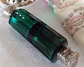 Superb Antique Victorian Era Double Ended Scent Bottle Green Glass Sterling Silver Perfume Smelling Salts