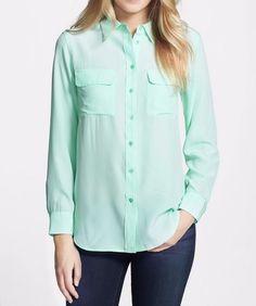 NEW EQUIPMENT Signature Silk Shirt Blouses, Ice Green, Small $218 #EQUIPMENT #Blouse #Careercausal