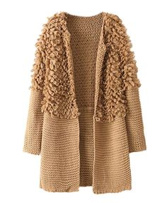 Looped Pile Splicing Thicken Knitting Coat