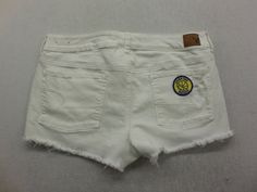 AEO Womens White Wash Denim Golden State Warriors Basketball Patch Jean Shorts Size 14 by KCteedesigns on Etsy