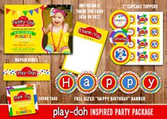 Printable Play-Doh Birthday Party Package Decorations | Kids Play Doh Birthday Invitation | Digital | DIY | Party Decor | Banner | Cupcake Toppers | Favor Tag | Treat Bag Toppers | Candy Bar Wrappers | Invitation | Thank You Card | Signs | Food Labels | Stickers | www.dazzleexpressions.com