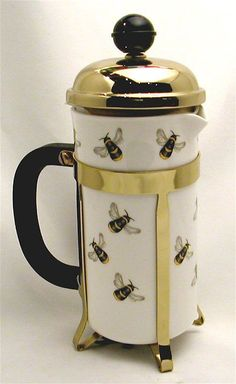 ≗ The Bee's Reverie ≗ Bees - Bone China Cafetiere Coffee Shop, Coffee Cups, Tea Cups, Coffee Maker, Drink Coffee, Tout Rose, I Love Bees, Bee Art, Save The Bees